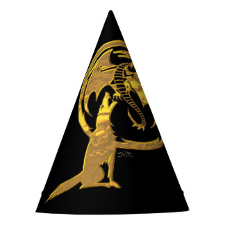 Wolf and Dragon Gold black wizard hat