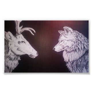 Wolf and Elk Poster