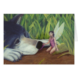 """Wolf and Fairy"" card by Nathan James"
