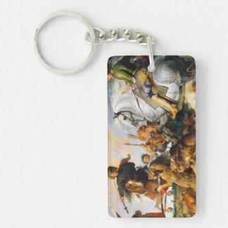Wolf and Fox hunt Peter Paul Rubens masterpiece Double-Sided Rectangular Acrylic Keychain
