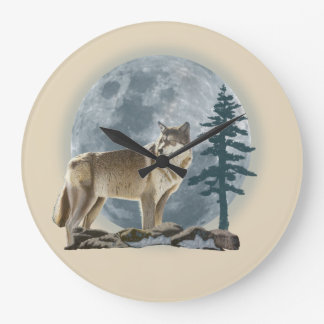 Wolf and moon design for clock. large clock