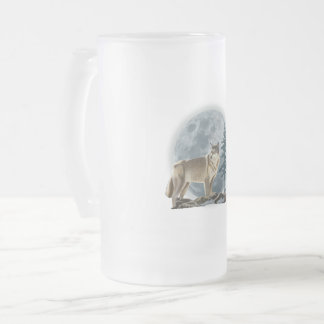 Wolf and moon design for glass beer mug. frosted glass beer mug
