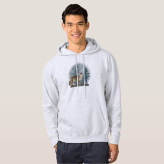 Wolf and moon design for men's men's hoodie. hoodie