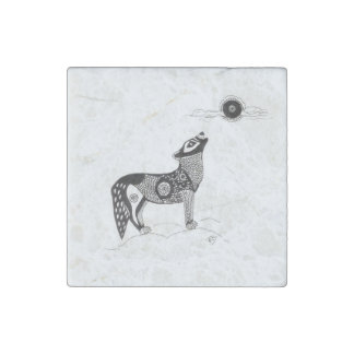 Wolf and Moon Stone Magnet Stone Magnets