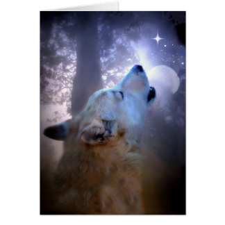 Wolf and Moon Winter Solstice Blessings Card
