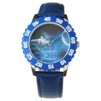 Wolf and Moon Wristwatch