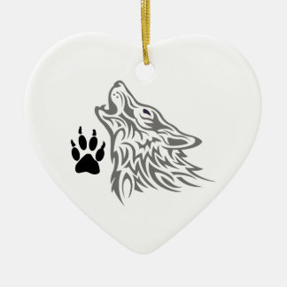 WOLF AND PAW PRINT CERAMIC ORNAMENT