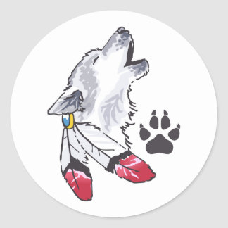 WOLF AND PAW PRINT CLASSIC ROUND STICKER