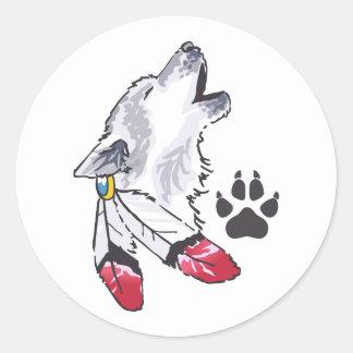 WOLF AND PAW PRINT ROUND STICKER