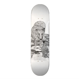 Wolf and Raven black and white design Skate Board