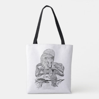 Wolf and Raven - black and white Design Tote Bag