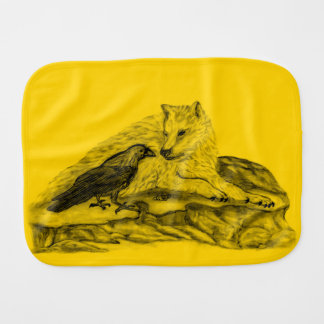Wolf and Raven - Black and Yellow Design Burp Cloth