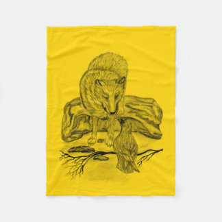 Wolf and Raven -  Black and Yellow Design Fleece Blanket