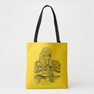 Wolf and Raven - Black and Yellow Design Tote Bag