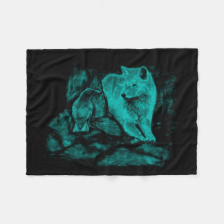 Wolf and Raven in the Night Fleece Blanket