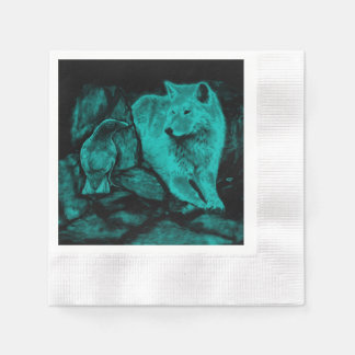 Wolf and Raven in the Night Paper Napkin