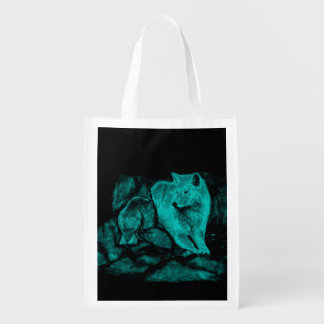 Wolf and Raven in the Night Reusable Grocery Bag