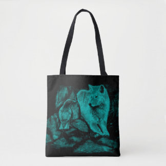 Wolf and Raven in the Night Tote Bag