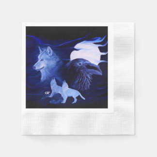 Wolf and Raven with full moon Disposable Napkins