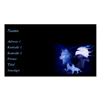 Wolf and Raven with full moon Pack Of Standard Business Cards