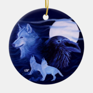 Wolf and Raven with full moon Round Ceramic Ornament