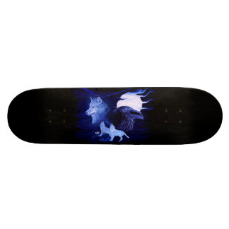 Wolf and Raven with full moon Skate Board