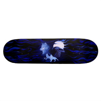 Wolf and Raven with full moon Skate Boards