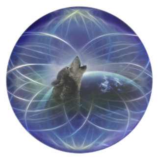 Wolf and the dreamcatcher party plate