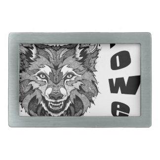 wolf-animal of to power rectangular belt buckles
