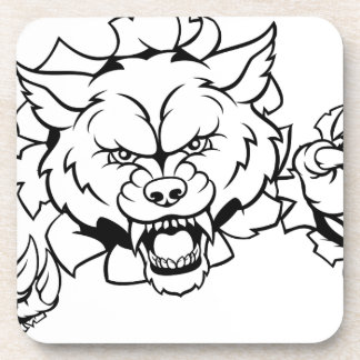 Wolf Animal Sports Mascot Breaking Background Coaster