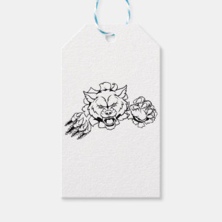 Wolf Animal Sports Mascot Breaking Background Gift Tags