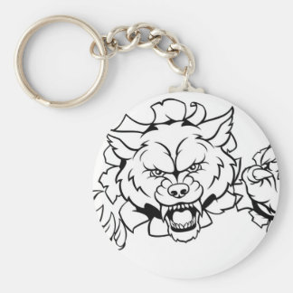 Wolf Animal Sports Mascot Breaking Background Keychain