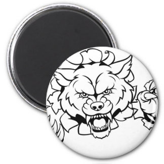 Wolf Animal Sports Mascot Breaking Background Magnet
