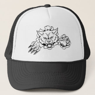 Wolf Animal Sports Mascot Breaking Background Trucker Hat