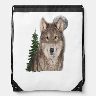 wolf art drawstring bag