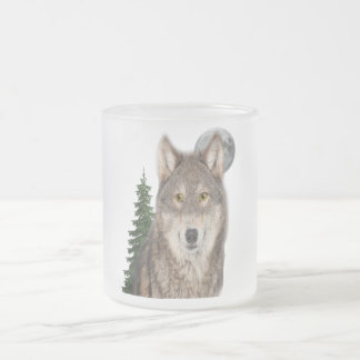 wolf art frosted glass coffee mug