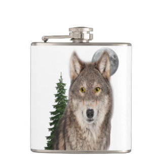 wolf art hip flask