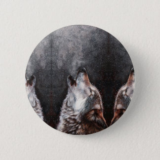 Wolf art - howling wolf - wolf painting 2 inch round button