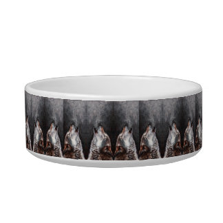Wolf art - howling wolf - wolf painting bowl