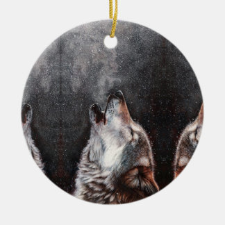 Wolf art - howling wolf - wolf painting ceramic ornament