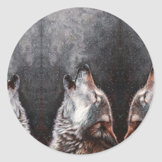 Wolf art - howling wolf - wolf painting classic round sticker