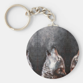 Wolf art - howling wolf - wolf painting keychain