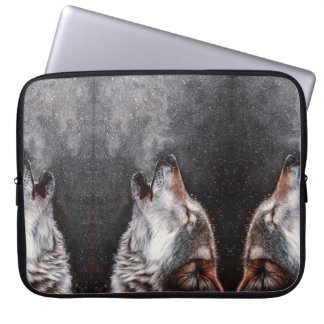 Wolf art - howling wolf - wolf painting laptop sleeve