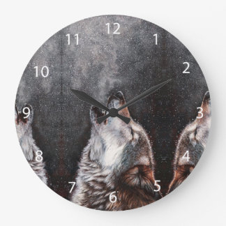 Wolf art - howling wolf - wolf painting large clock
