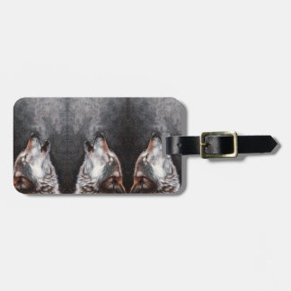 Wolf art - howling wolf - wolf painting luggage tag