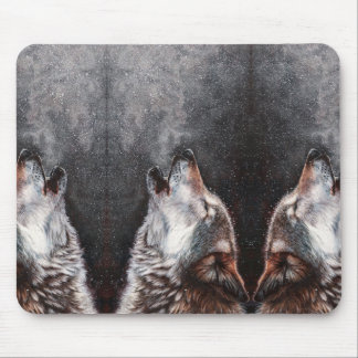 Wolf art - howling wolf - wolf painting mouse pad