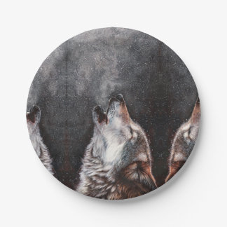 Wolf art - howling wolf - wolf painting paper plate