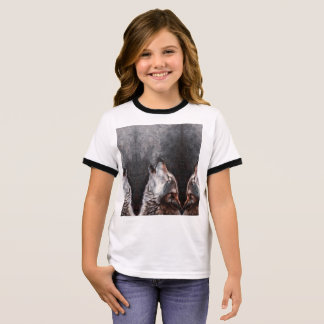 Wolf art - howling wolf - wolf painting ringer T-Shirt