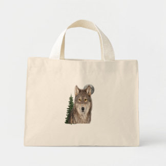 wolf art mini tote bag
