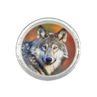 Wolf Art Painting Photo Ring